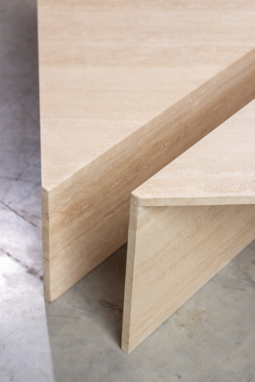 Architectural 20th century postmodern triangular low travertine tables by UP UP img 9
