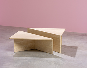 Architectural Postmodern triangular travertine coffee tables by UP UP