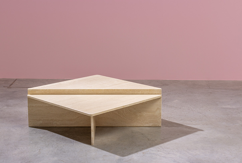 Architectural Postmodern triangular travertine coffee tables by UP UP img 3