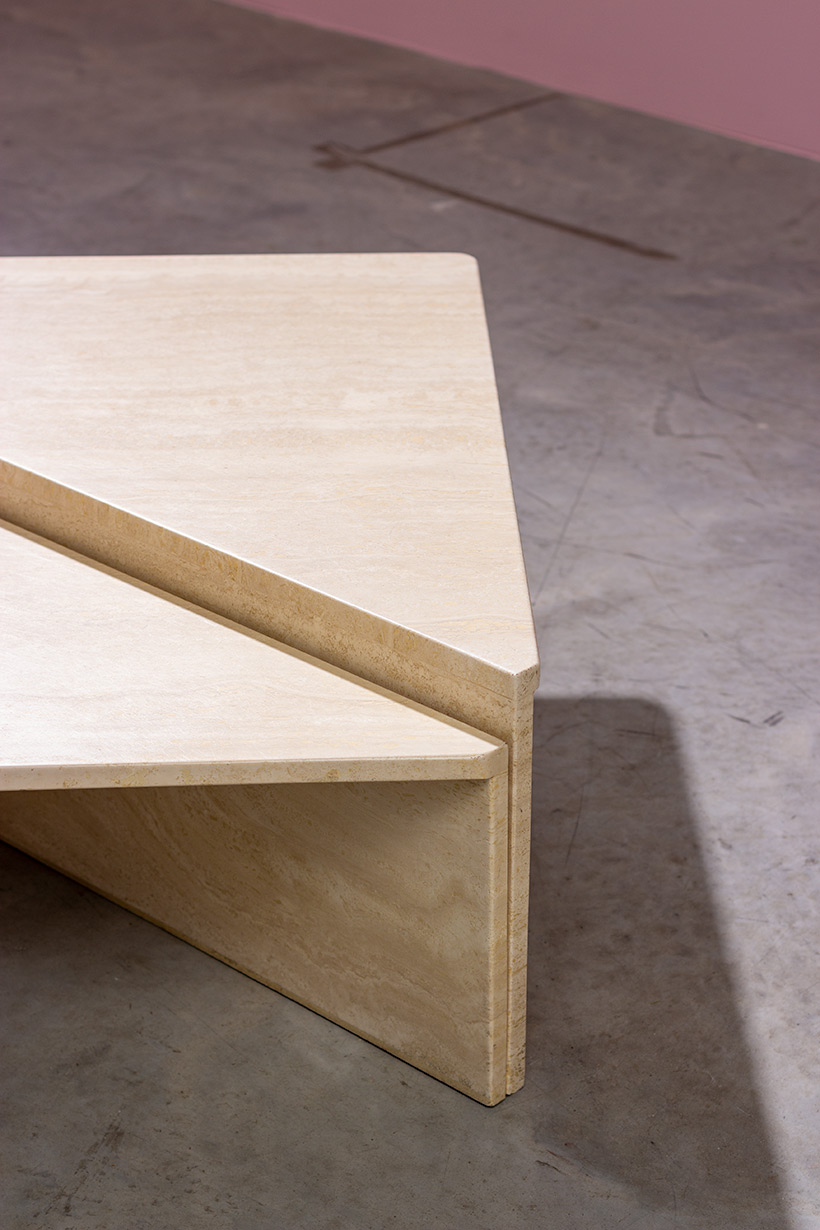 Architectural Postmodern triangular travertine coffee tables by UP UP img 4