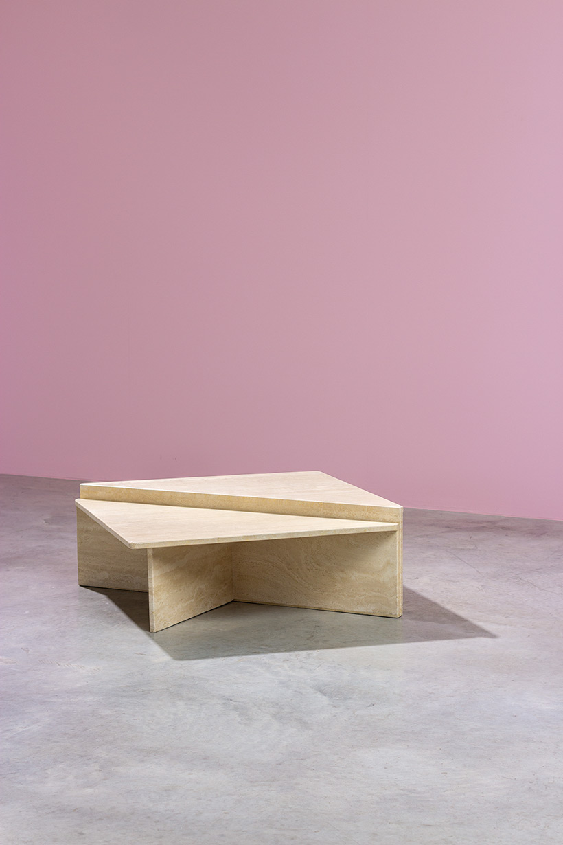 Architectural Postmodern triangular travertine coffee tables by UP UP img 5