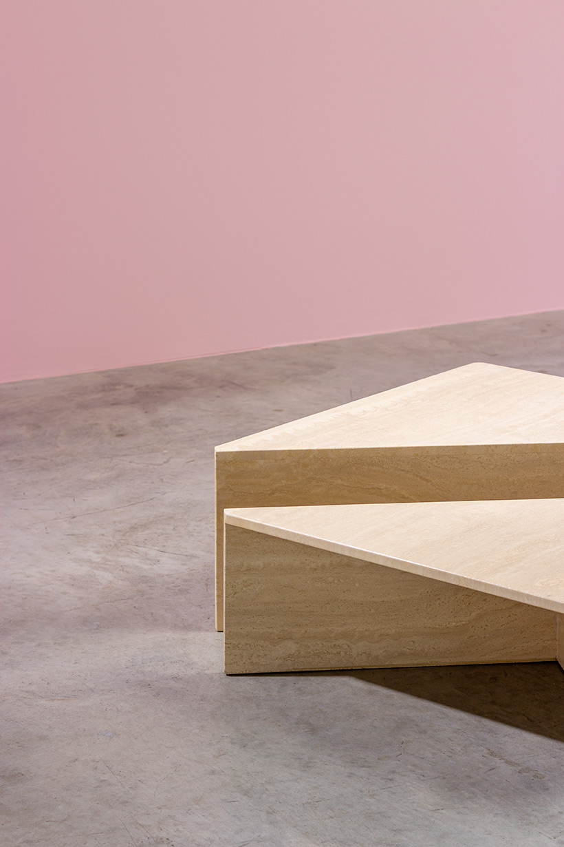 Architectural Postmodern triangular travertine coffee tables by UP UP img 6