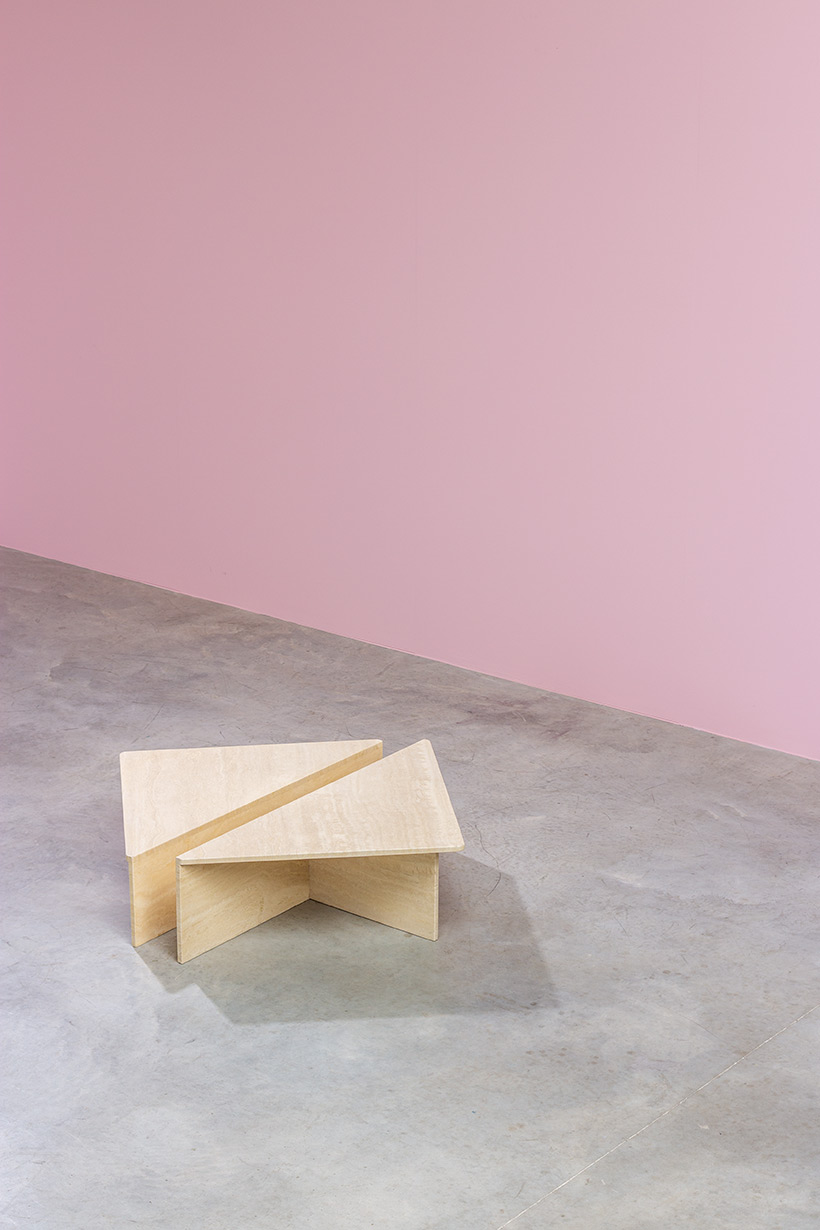 Architectural Postmodern triangular travertine coffee tables by UP UP img 7