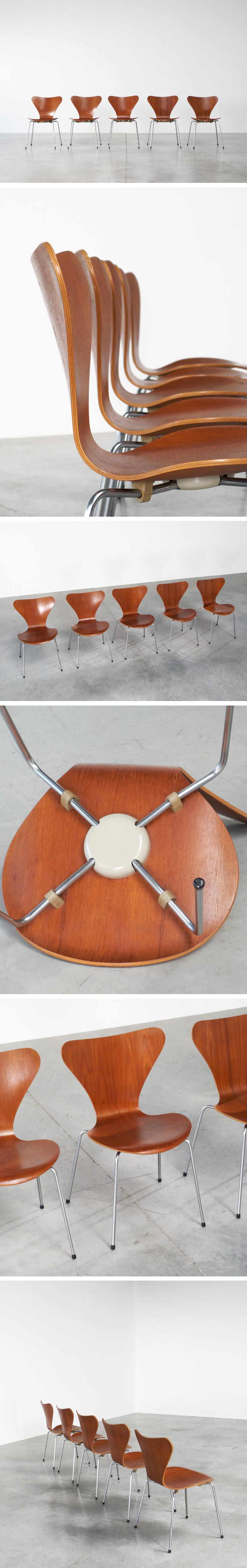 Arne Jacobsen 5 teak chairs 3107 Fritz Hansen 1972 Large