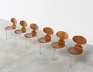 Arne Jacobsen set of six Danish Ant chairs in rosewood Fritz Hansen