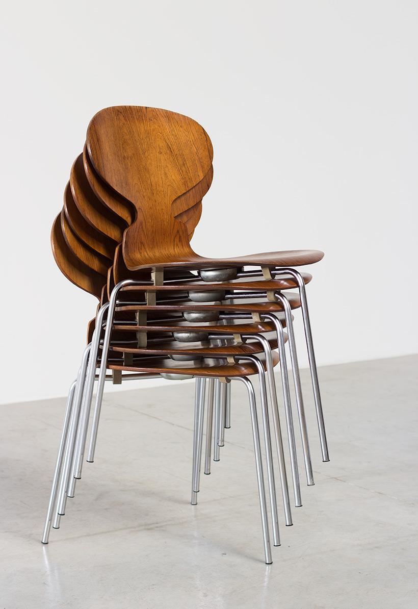 Arne Jacobsen set of six Danish Ant chairs in rosewood Fritz Hansen