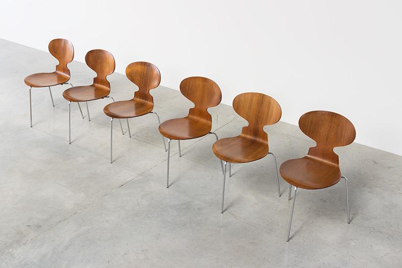 Arne Jacobsen set of six Danish Ant chairs in rosewood Fritz Hansen img 5