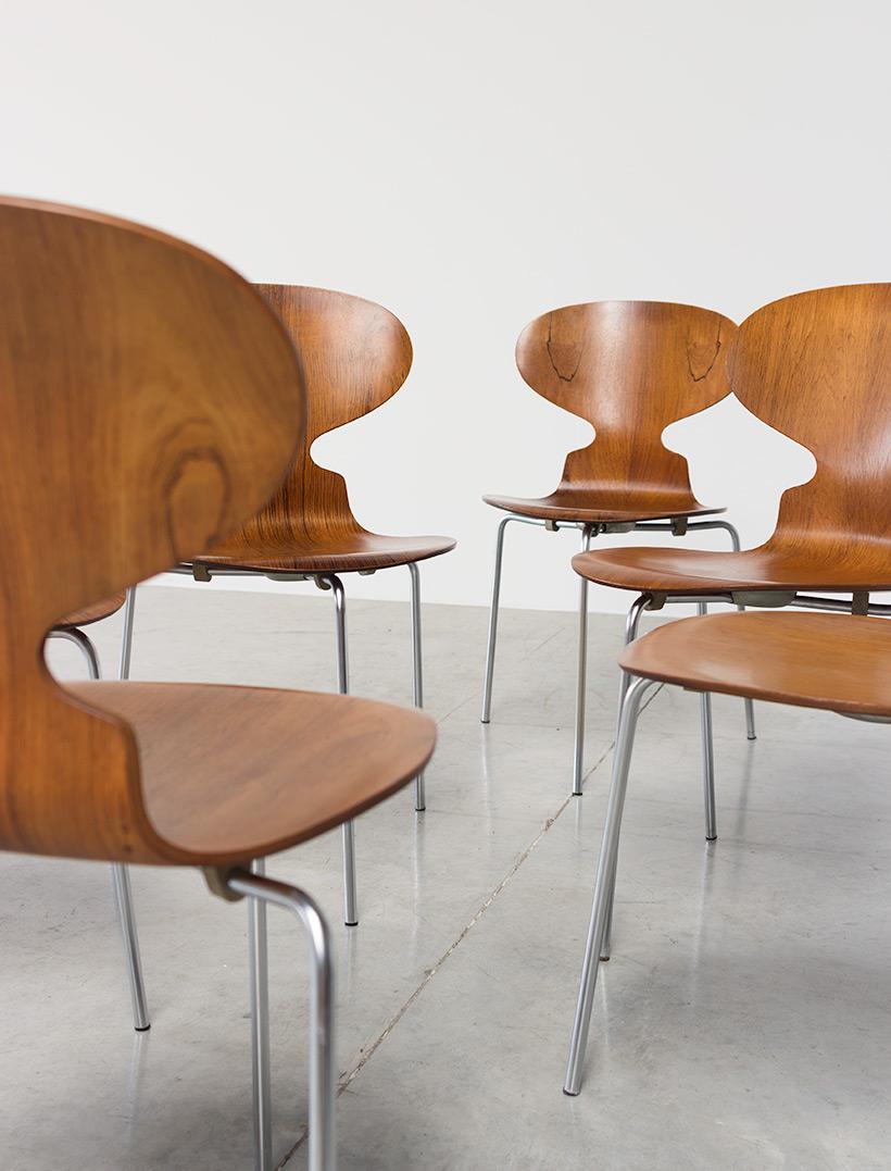 Arne Jacobsen set of six Danish Ant chairs in rosewood Fritz Hansen img 7