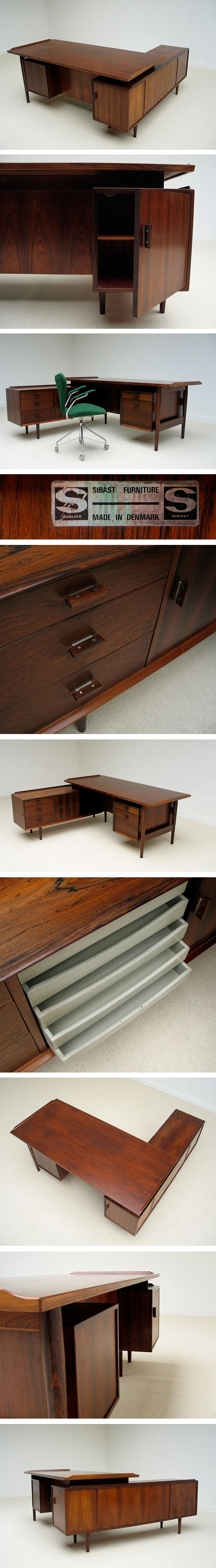 Arne Vodder rosewood office desk Sibast Furniture 1955 Large