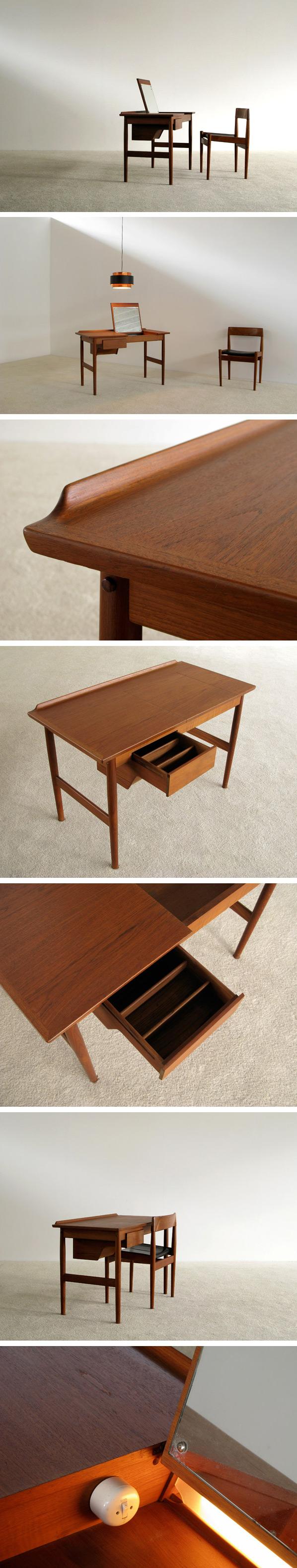 Arne Vodder teak Make Up table Sibast Denmark Large