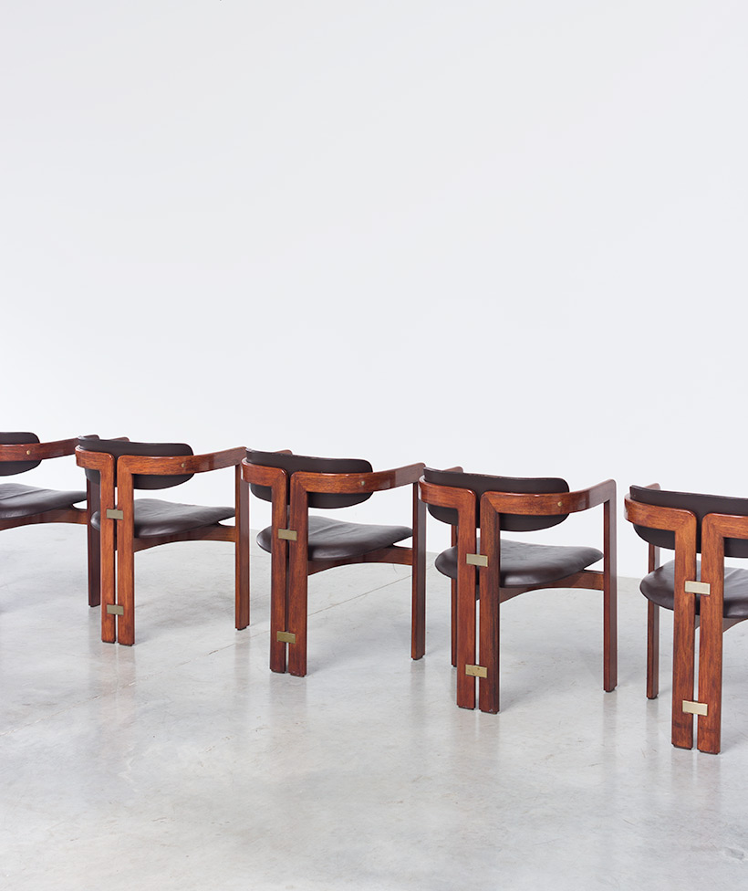 Augusto Savini Pamplona Dinning Chairs for Pozzi 1965 set of six Chairs