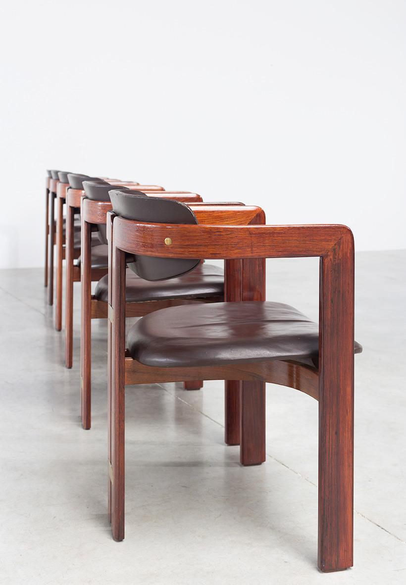 Augusto Savini Pamplona Dinning Chairs for Pozzi 1965 set of six Chairs img 8