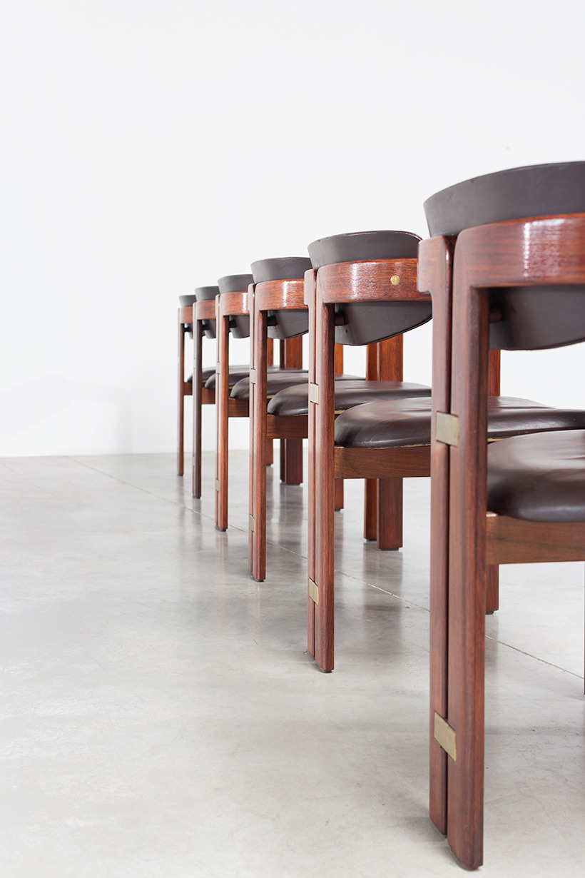Augusto Savini Pamplona Dinning Chairs for Pozzi 1965 set of six Chairs img 9