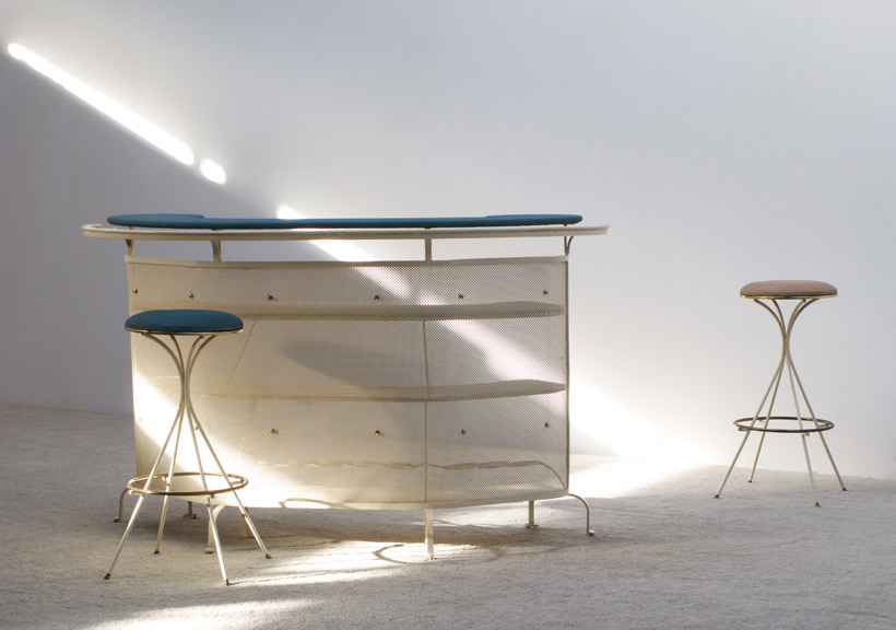 Bar Cocktail unit in perforated metal with stools 1950