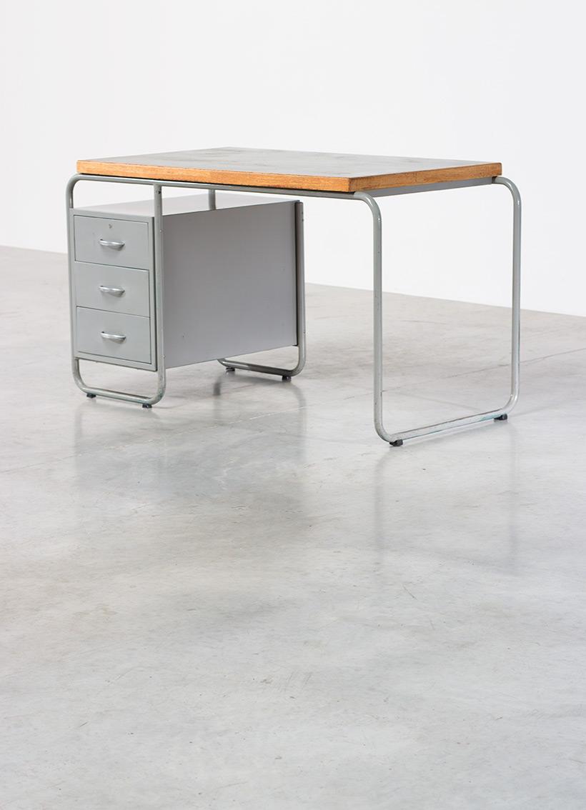 Bauhaus industrial tubular steel and linoleum desk