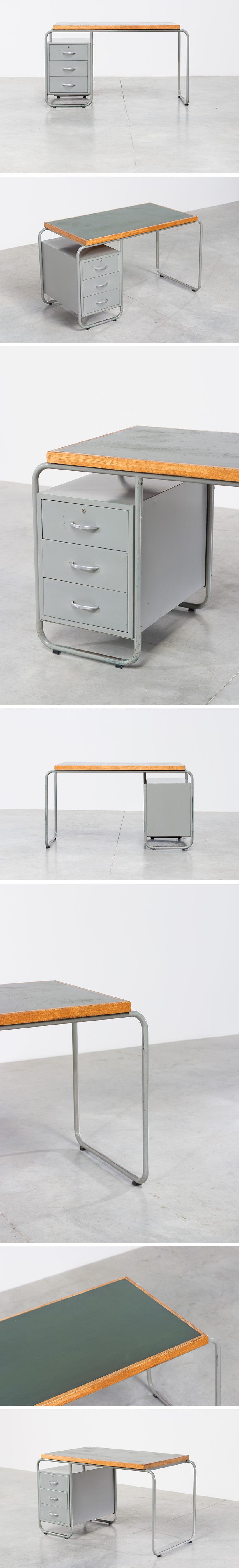 Bauhaus industrial tubular steel and linoleum desk Large