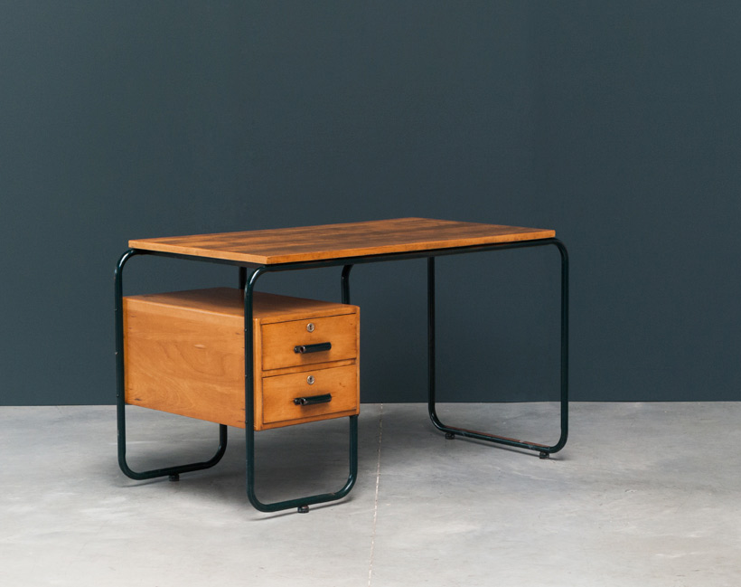 Bauhaus tubular steel and wooden desk