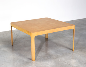 Birch wooden dinning table with curved legs