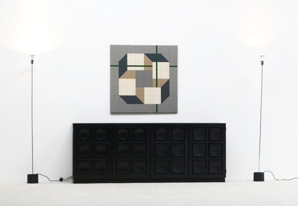 Black ebonized graphic modern sideboard Belgium made