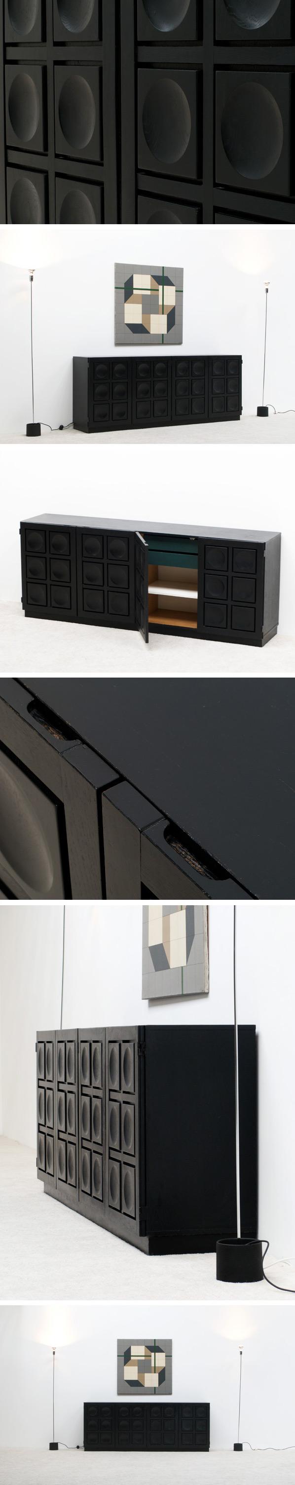Black ebonized graphic modern sideboard Belgium made Large