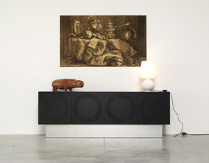 Black ebonized graphic modern sideboard