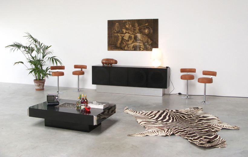 Black ebonized graphic modern sideboard