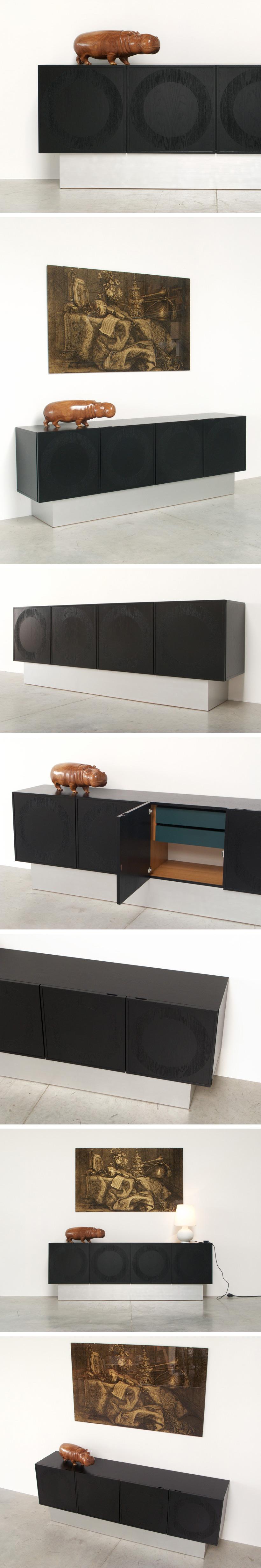 Black ebonized graphic modern sideboard Large
