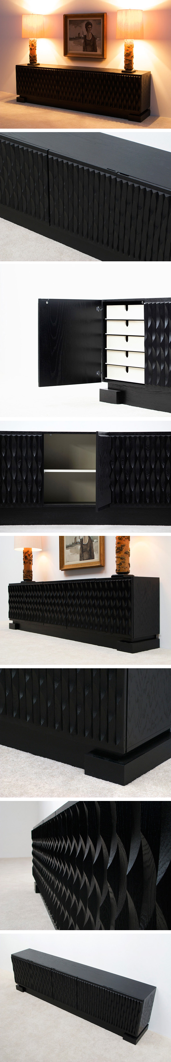 Black ebonized large graphic modern sideboard Belgium made Large