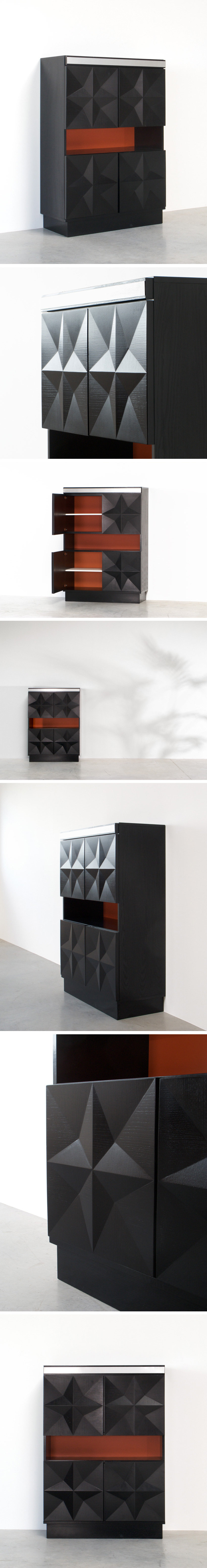 Black graphic modern highboard Large