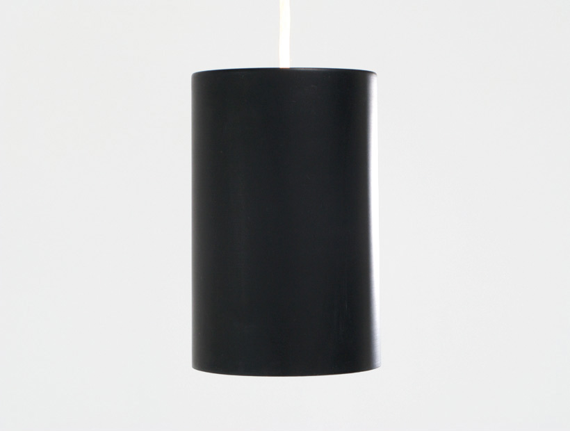 Black industrial cylinder pendel Eila and John Meiling Louis Poulsen