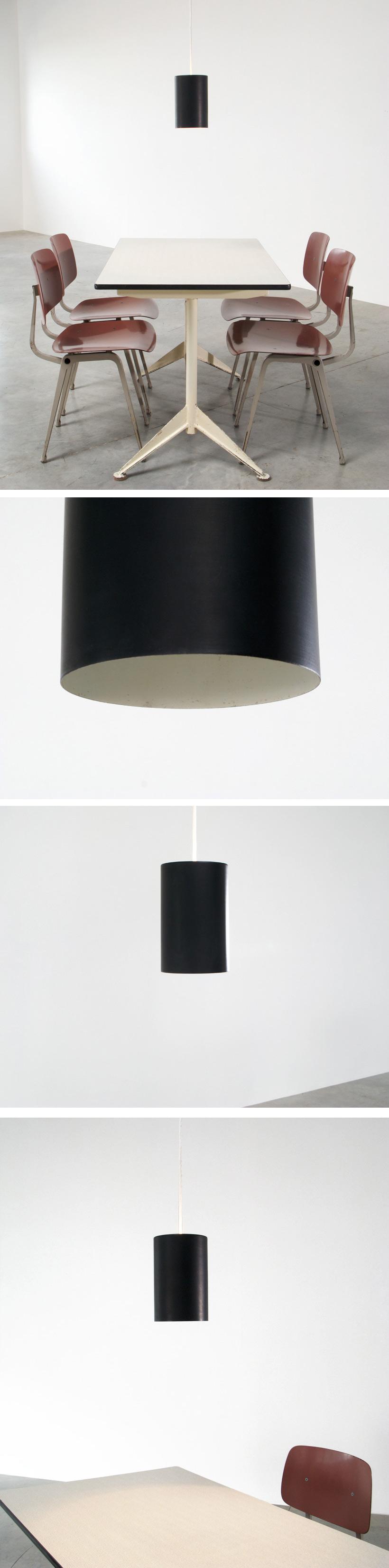 Black industrial cylinder pendel Eila and John Meiling Louis Poulsen Large