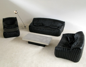 Black Leather Living scape Cinna Annie Hieronimus Ligne Roset