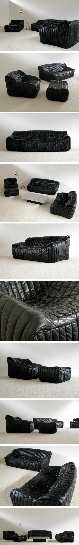 Black Leather Living scape Cinna Annie Hieronimus Ligne Roset Large
