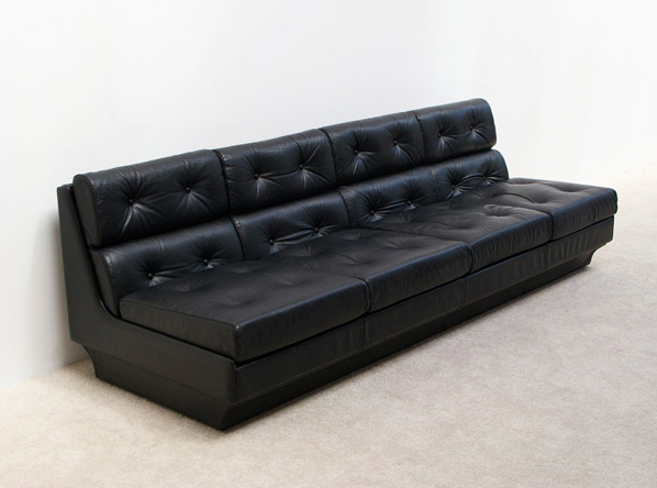 Black leather modern four seater sofa for Airborne