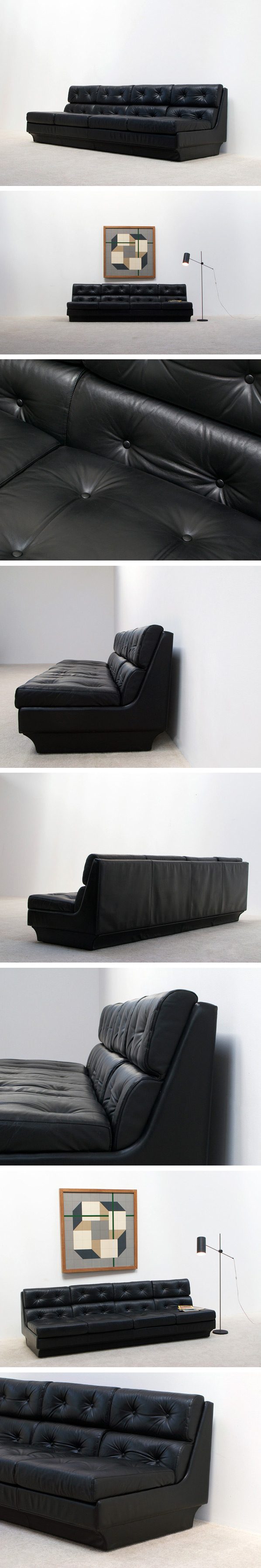 Black leather modern four seater sofa for Airborne Large