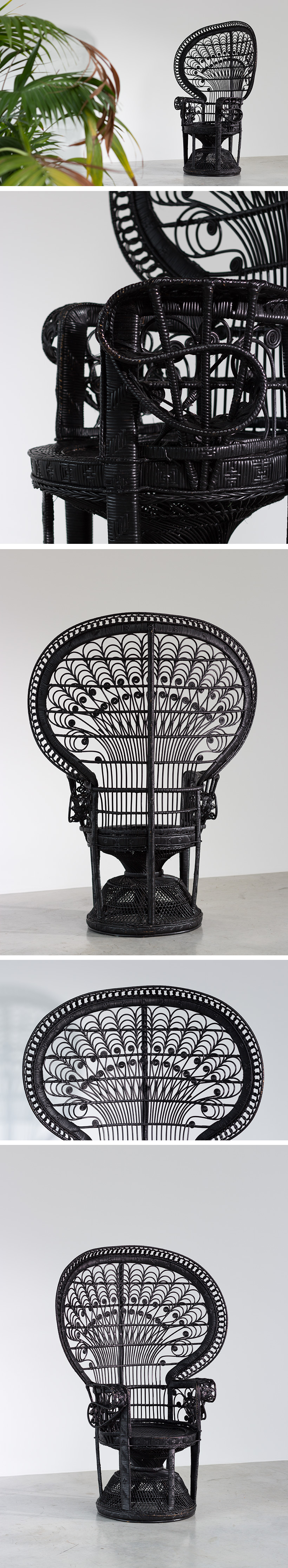Black Peacock chair or Emmanuelle chair 1970 Large