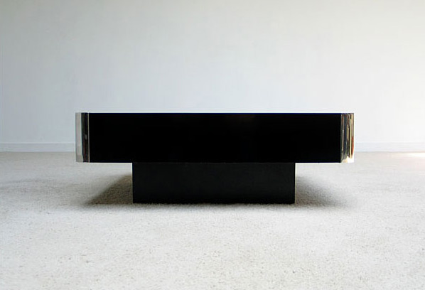 Black Square Coffee table Willy Rizzo 1970