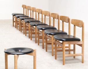 Borge Mogensen 8 leather dinning chairs for Karl Andersson and Soner