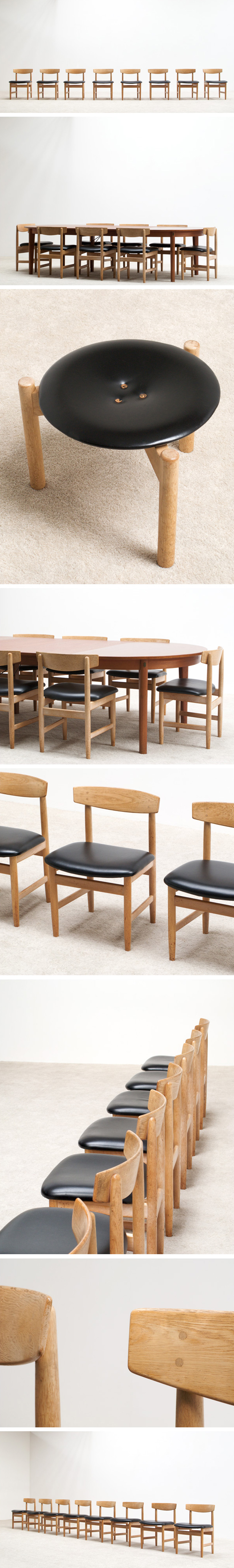 Borge Mogensen 8 leather dinning chairs for Karl Andersson and Soner Large