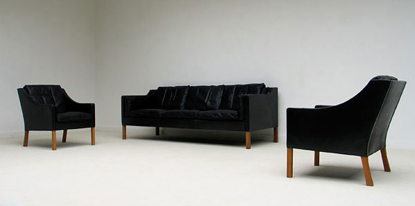 Borge Mogensen black leather 3 seater and 2 armchairs