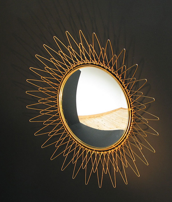 Brass sun mirror Pilastro 1950 eames era
