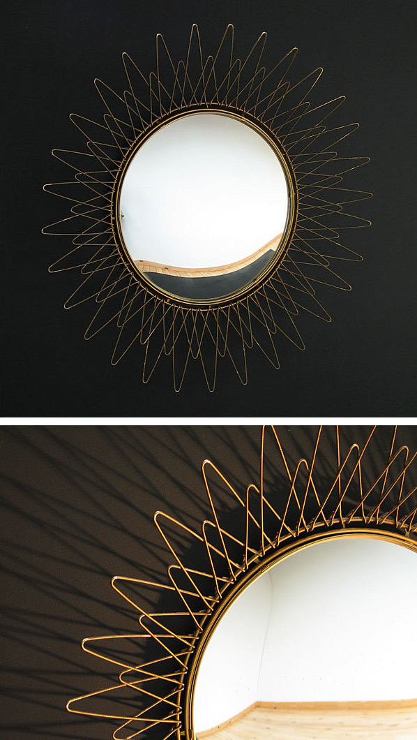 Brass sun mirror Pilastro 1950 eames era Large