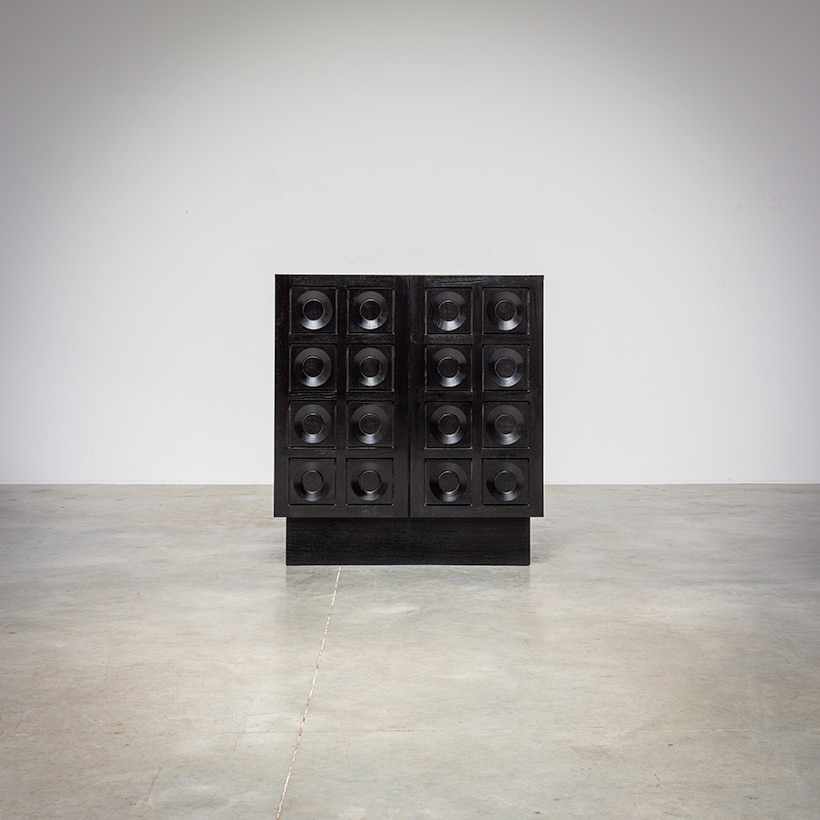 Brutalist bar cabinet with geometrical doors 1970s img 3