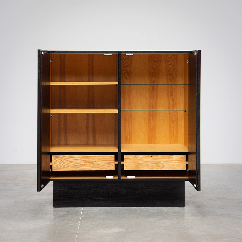 Brutalist bar cabinet with geometrical doors 1970s img 4