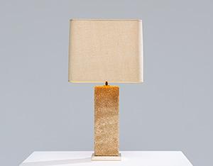Brutalist modernism Limestone table lamp France 1970