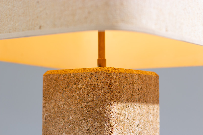 Brutalist modernism Limestone table lamp France 1970 img 4