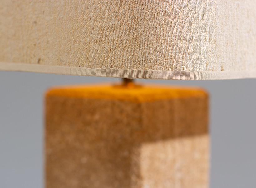 Brutalist modernism Limestone table lamp France 1970 img 5