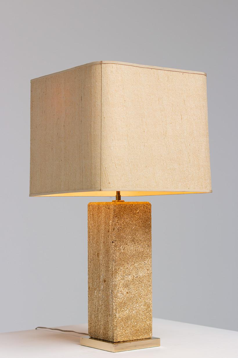 Brutalist modernism Limestone table lamp France 1970 img 6