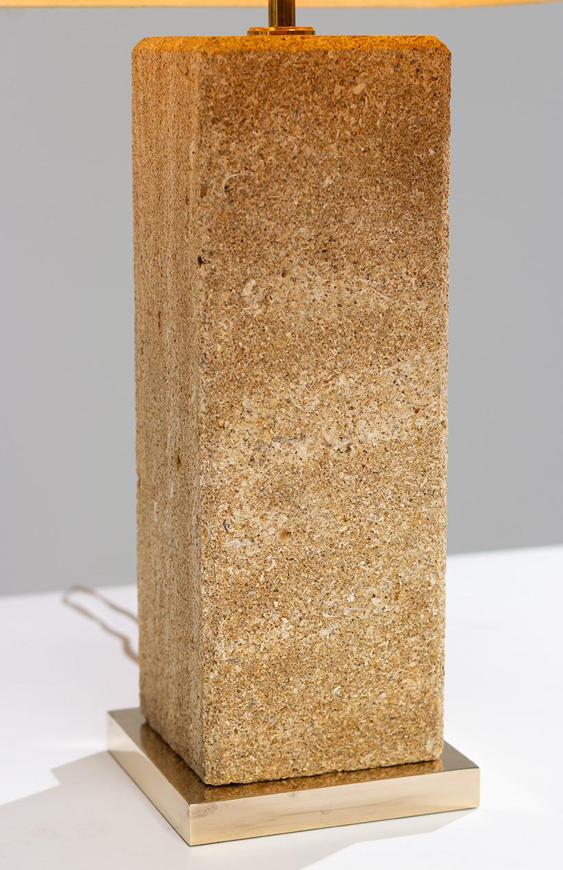 Brutalist modernism Limestone table lamp France 1970 img 7