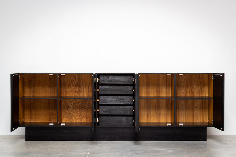 Brutalist sideboard with geometrical doors 1970s img 7